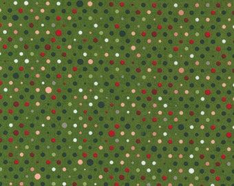 Hustle and Bustle Party Multicolor Dot Blender -Pine - 1/4 yard