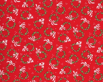 Merry Bright Wreaths - Poinsettia Red - 1/4 yard