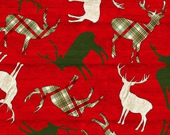 Tossed Reindeer on Red Wood - 1/4 yard