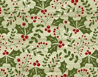Jingle Bell Christmas - Holly Daze Light Green - 1/4 yard