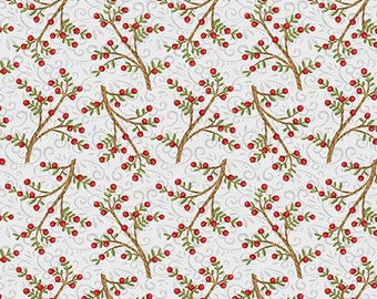 Snow Place Like Home Tossed Berry Branches - 1/4 yard