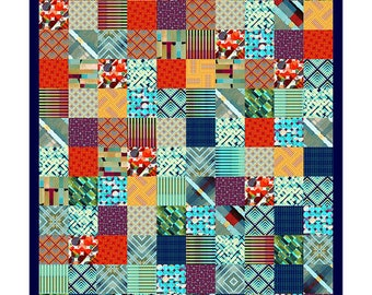 Patchwork Quilt pattern featuring Madison One collection - IN STOCK - Ready to Ship - FREE Shipping!