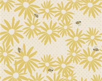 Lemonade Floral Buzz - Dark Yellow - 1/4 yard