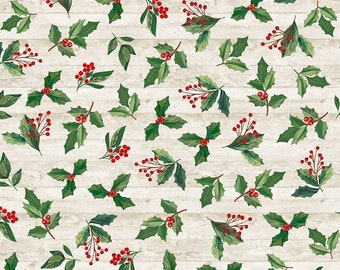 Holly and Leaves - 1/4 yard