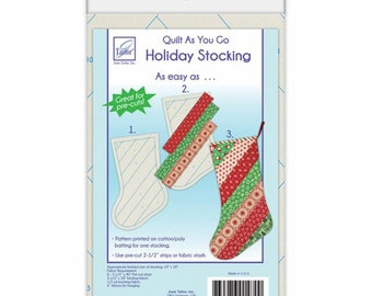Quilt As You Go Sew By Number Christmas Stocking Pattern Printed on Batting