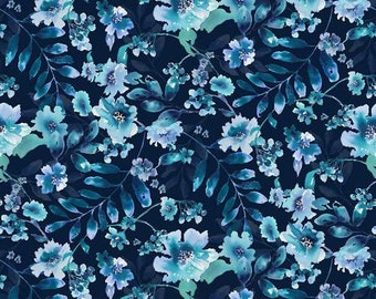 CLEARANCE!!! Midnight Sapphire - Watercolor Large Floral Navy - 1/4 yard