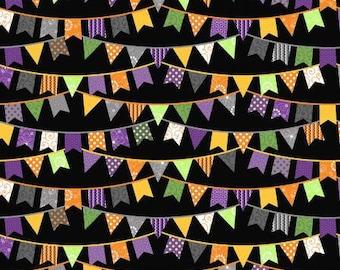 Hometown Halloween Halloween Flags - Black - 1/4 yard