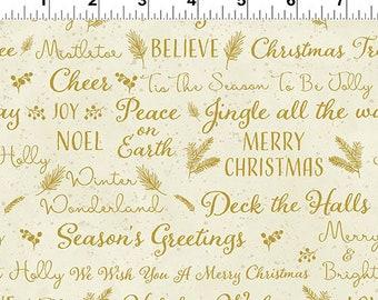 O Christmas Tree - Holiday Wishes - Cream - 1/4 yard