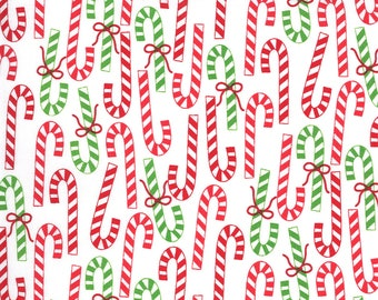 Merry Bright Candy Canes - Winter White - 1/4 yard