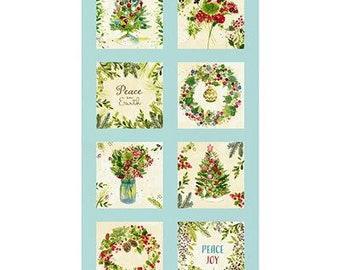 "O Christmas Tree - 9"" Block Panel - Light Aqua"