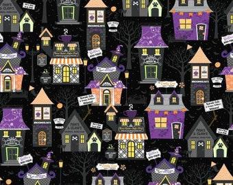 Hometown Halloween Hometown Houses - Black - 1/4 yard