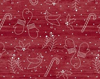 Jingle Bell Christmas - Whimsical Winter Red - 1/4 yard