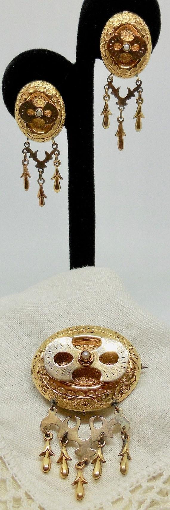 Antique Victorian Gold-Filled Chandelier Dangle Ea