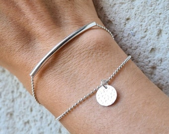 Double Rang Silver 925 bracelet with curved tube and hammered charm