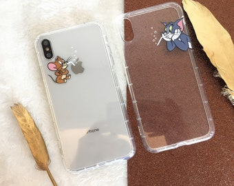 Tom and Jerry Design Clear iPhone XR Case iPhone XS Case iPhone 8 Plus Case iPhone 7 Case iPhone X Case iPhone XS Max Case iPhone 7 Plus