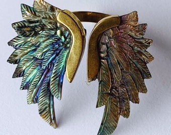 Hand Carved Balinese Winged Talisman Bracelet Brass Magic Fantasy
