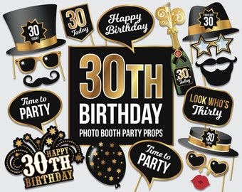 PDF File 0079 Birthday Party Props 1st Birthday Photo Booth Props in Blue and Gold Colors Printable Photo Booth Props