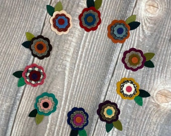 """4 DIFFERENT 5/"""" PENNY RUGS NEW AUTUMN MINI PENNIES WOOL APPLIQUE PATTERN"""