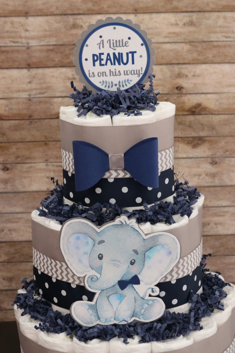 Little Peanut baby shower Little peanut Navy blue gray Elephant diaper cake Its a Boy Diaper cake for boys Boy baby shower ON SALE!
