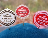 Set of 3 Vintage 1960s Royal Crown Cola Pin Badges - One Metal and Two Plastic