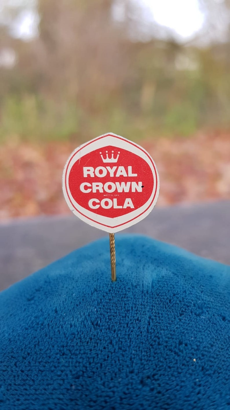 Set of 3 Vintage 1960s Royal Crown Cola Pin Badges One Metal and Two Plastic