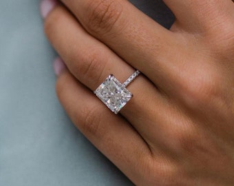 4 CT Radiant Cut Moissanite Ring Radiant Engagement Ring Promise Ring Dainty Radiant Ring 14K White Gold Ring Anniversary Ring Free Ship USA