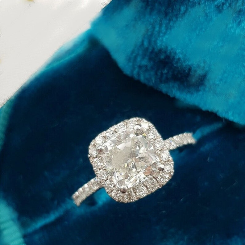Classic Halo Engagement Ring 2 CT Cushion Cut Moissanite Ring Unique Jewelry For Women 14k White Gold Wedding Anniversary Ring,Gift Ring