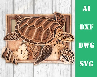 Sea turtle ocean multi layer mandala model laser cut file, commercial use, wall art home decor  CNC download dxf svg ai dwg cricut 3d
