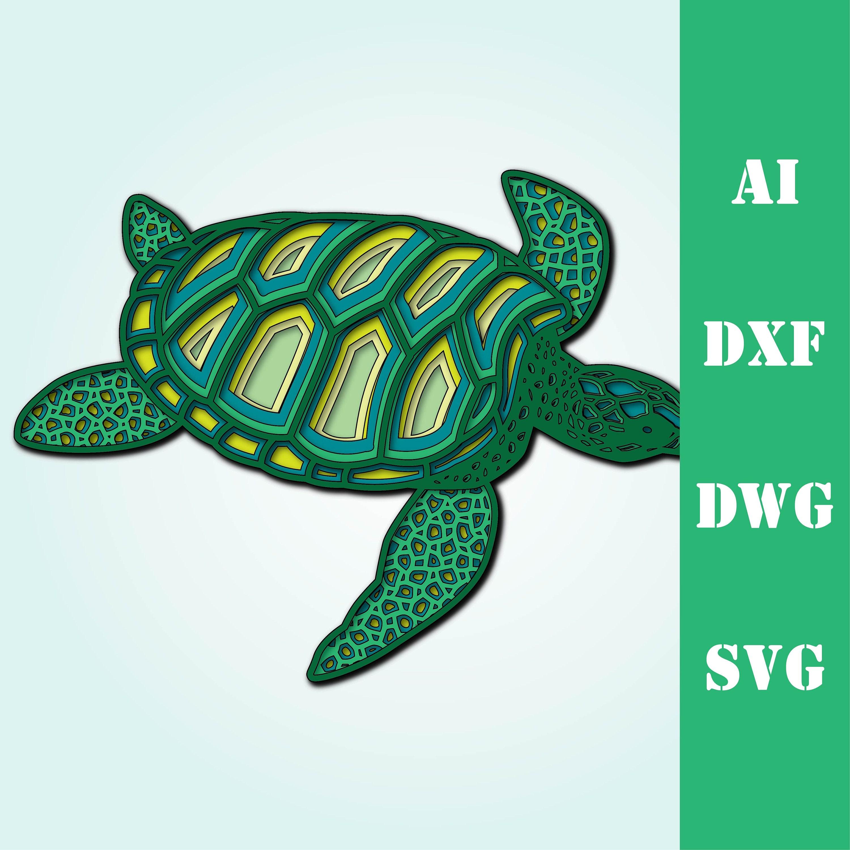 Download Multi layer mandala sea turtle ocean model laser cut file ...