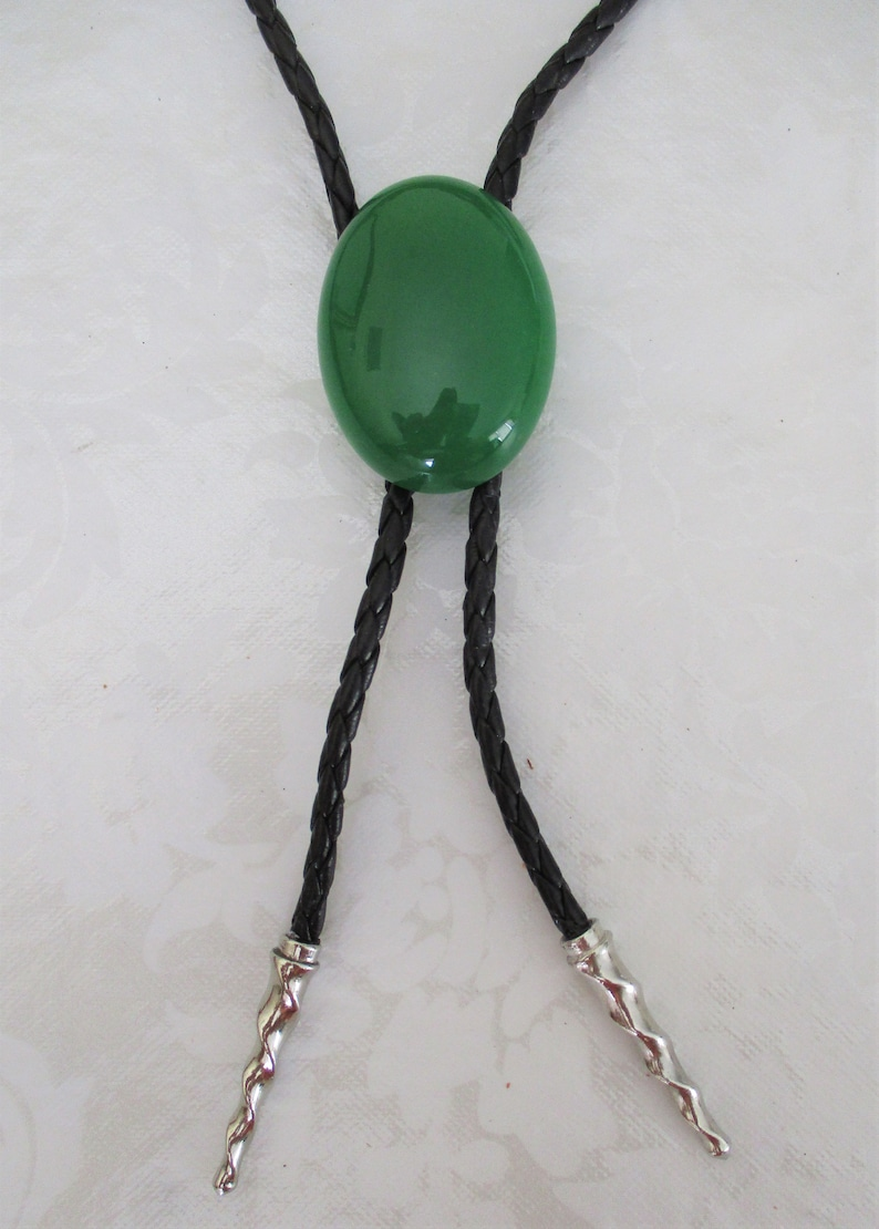 Green Jade Natural Western Naked Bolo Tie Pendant Unisex