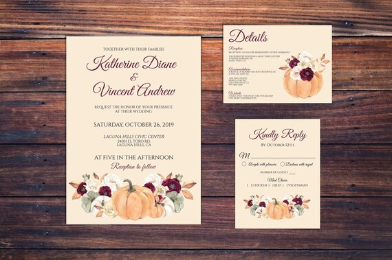 Thanksgiving Wedding Invitation - Fall Wedding Invitation - Autumn Wedding Invitation - Pumpkin Wedding Invitation - DIY Wedding Invitation