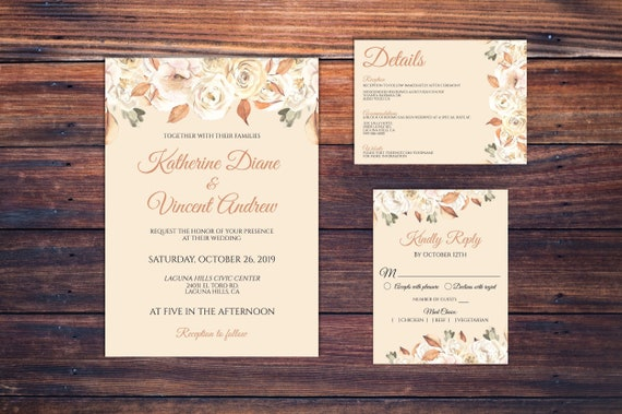 Fall Wedding Invitation - Autumn Wedding Invitation - Invitation Instant Download - Printable Invitation - DIY Wedding Invitation