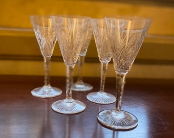 Set of 5 French Vintage St. Louis Crystal Wine Glasses