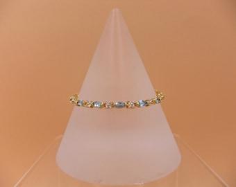 Sea Foam Blue Zircon, Cubic Zirconia Gemstone, Sterling Silver, Gold Accent, Bracelet
