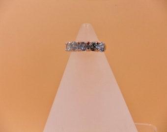 Sea Foam Blue Zircon, Size L,  Gemstone, Sterling Silver Rings, Rose Gold Accent