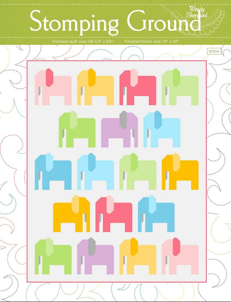 STOMPING GROUND Elephant Fat Quarter Pieced Quilt Pattern PDF image 0