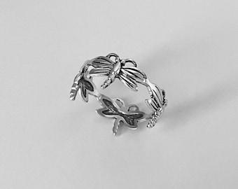 Sterling Silver Eternity Dragonfly Ring, Silver Ring, Spirit Ring, Boho Ring