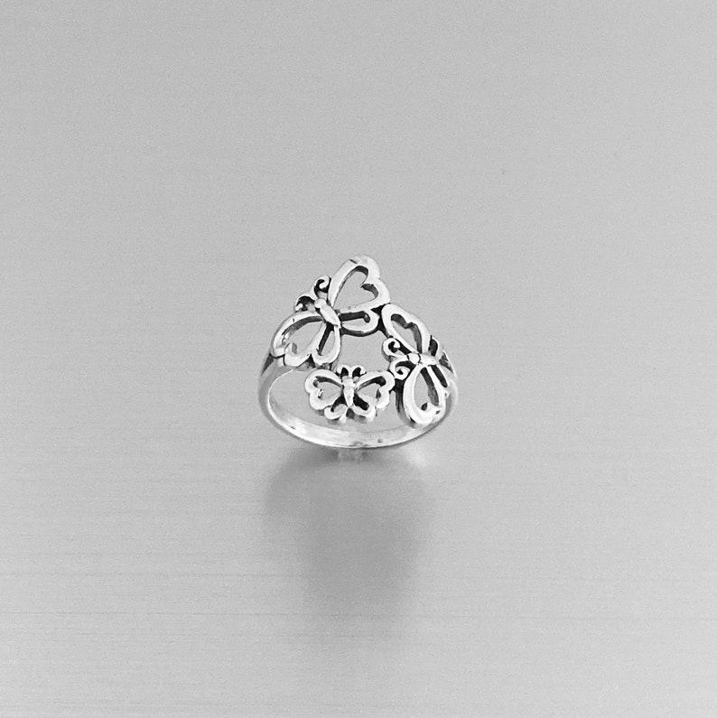 Spiritual Ring Sterling Silver Triple Butterfly Ring Spirit Ring Silver Ring