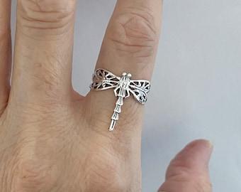 Sterling Silver Thin Filigree Dragonfly Ring, Spirit Ring, Boho Ring, Silver Ring