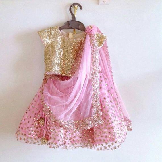 Beautiful Indian kids zari net embroidered lehenga with sequin top and net dupatta heavy lengha wedding lehenga choli lehenga set for girls