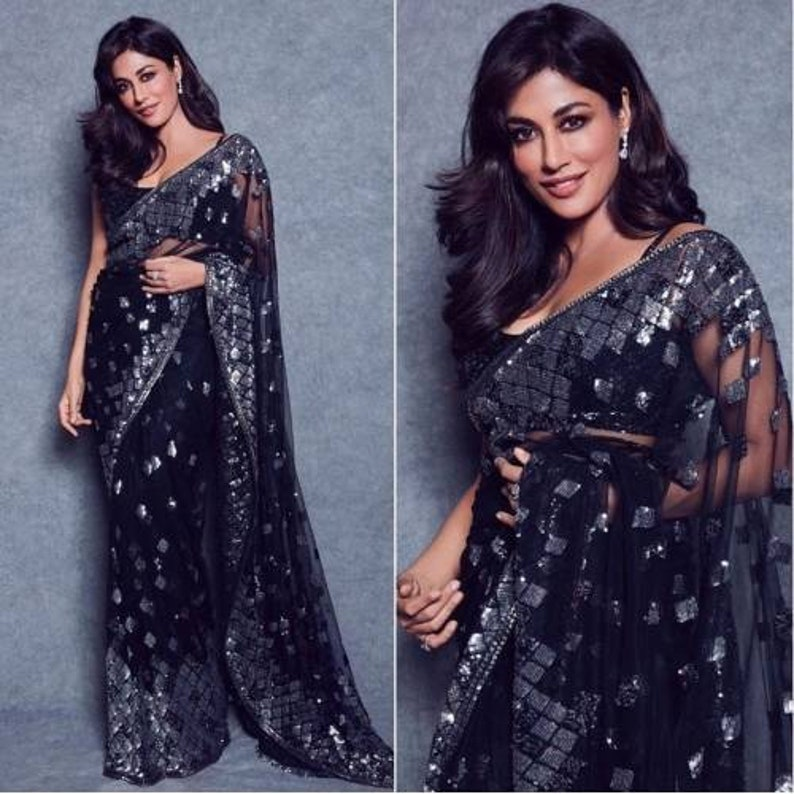 Beautiful heavy sequin embroidered work saree with sequin top for women heavy saree designer saree indian saree fancy saree