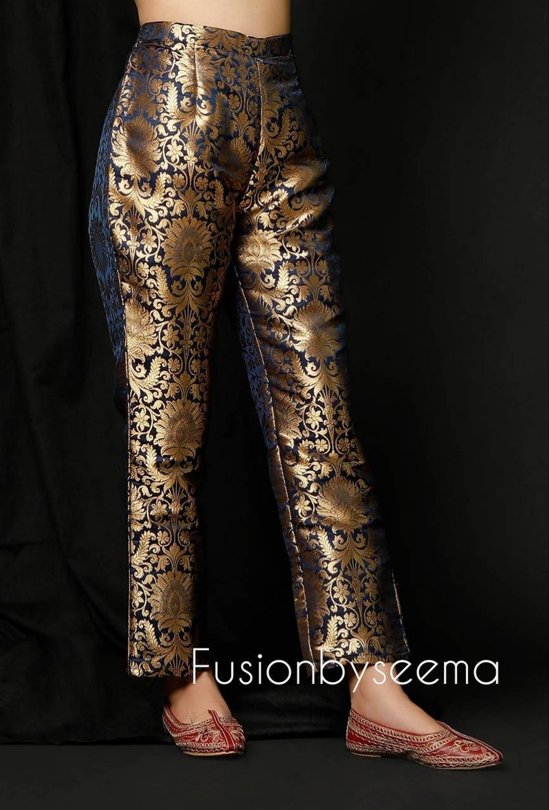 Stylish brocade Pants for women matching combo set party wear pants for Indian functions designer pants brocade pants
