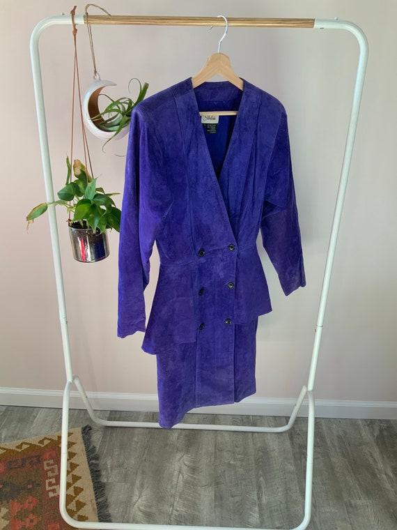 Vintage 100% Leather Royal Blue Dress