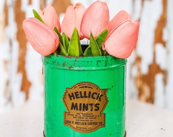 Antique Hellick Mints Tin - Snow Drop Mints Tin - Antique Tin - Vintage Tin - Vintage Christmas Tin