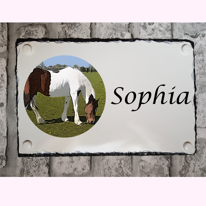Name And Photo Natural Slate Horse Stable Plaque Custom Made Horse Sign Cartoon Drawing Fully Personalised Engraved In Colour