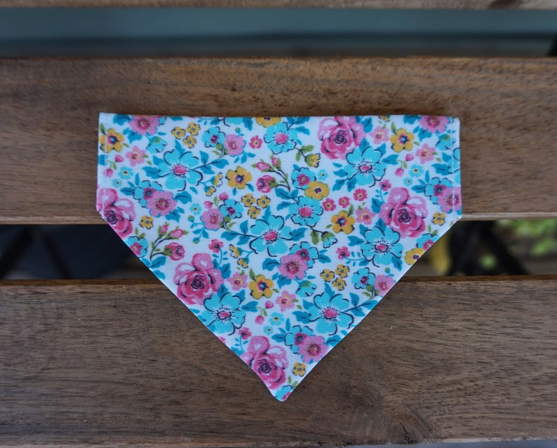 Pet Accessory Scarf Trendy Neckwear Slide On Over Collar OR Snap Closure Colorful Flowers Floral Pink Blue Yellow Spring Dog Bandana