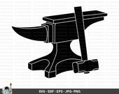 Anvil SVG, Anvil Vector, Anvil Clipart, Anvil Cricut, Anvil Cut File, Anvil Silhouette, Blacksmith Anvil and Hammer svg dxf eps png jpg