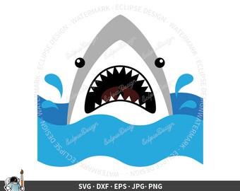 Shark Face SVG, Shark svg, Shark clipart, Great White Shark cricut, Shark Silhouette, Beach Shark cut file, Cool Shark jpg png dxf eps