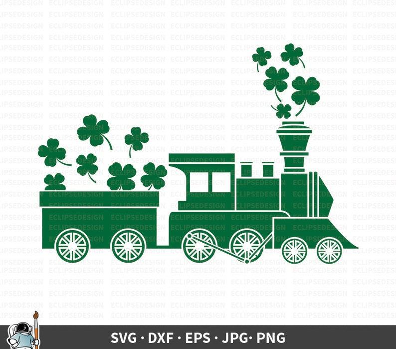 Clover Silhouette svg dxf eps png jpg Saint Patrick Cricut Clover Cut File Clover Clipart St Patrick/'s Day SVG Clover Train Vector