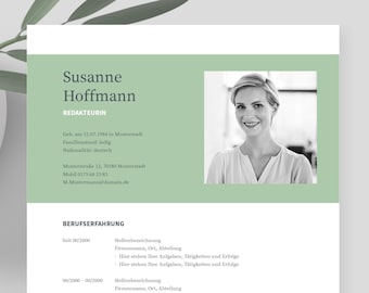 """Application templates German   Curriculum vitae template    eBook with video   Word, Pages, OpenOffice, and LibreOffice   """"NAPEA green"""""""